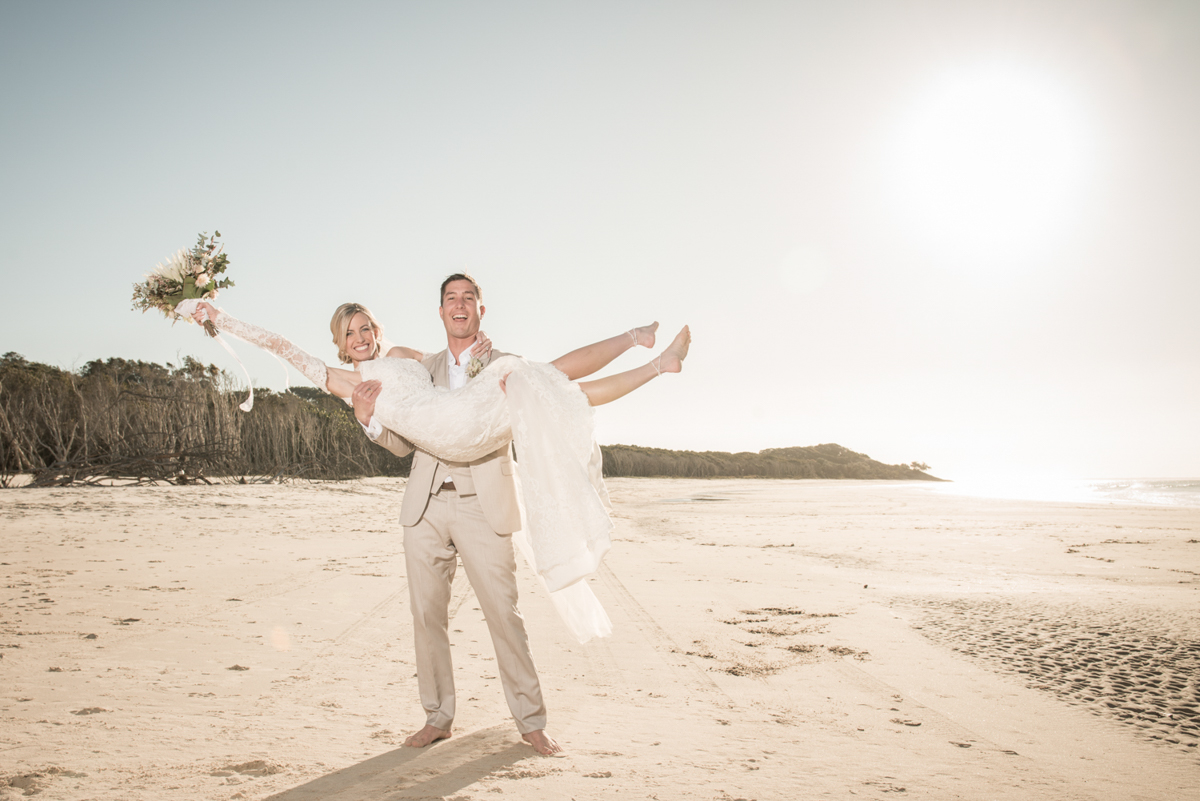 Point Lookout community hall wedding reception   Emma and Anthony wedding video   bride and groom on Straddie