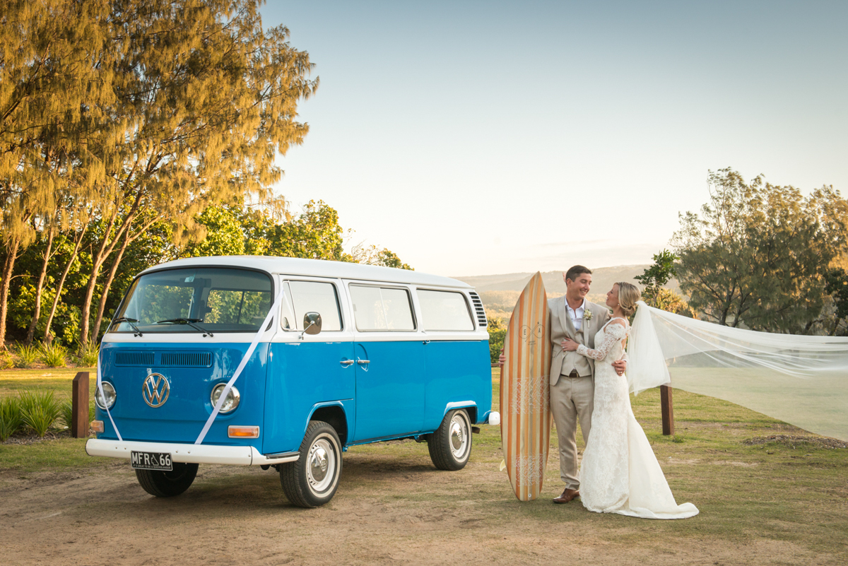Point Lookout community hall wedding reception   Emma and Anthony wedding video   bride and groom on Straddie with kombi