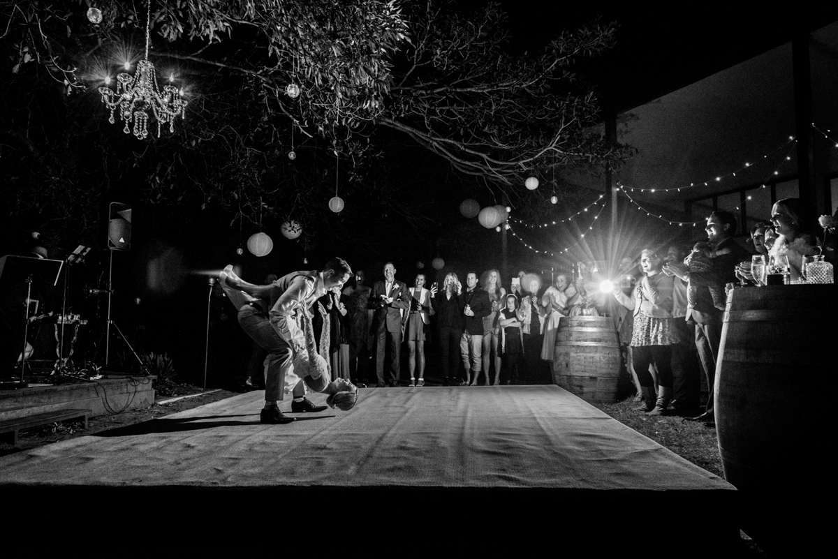 Emma and Anthony   Stradbroke Island wedding   couple dancing in Point Lookout Community Hall
