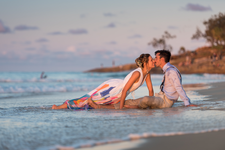 backyard wedding on North Stradbroke Island, Flinders beach ceremony. Serena and Caleb destination wedding