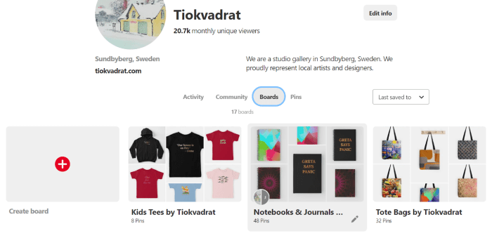 Tiokvadrat boards tab