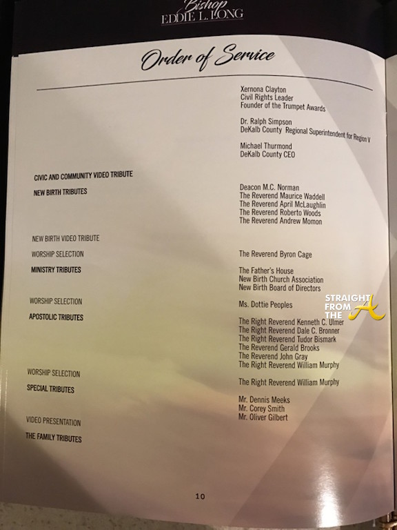 Eddie Long Funeral Program 1  Straight From The A SFTA