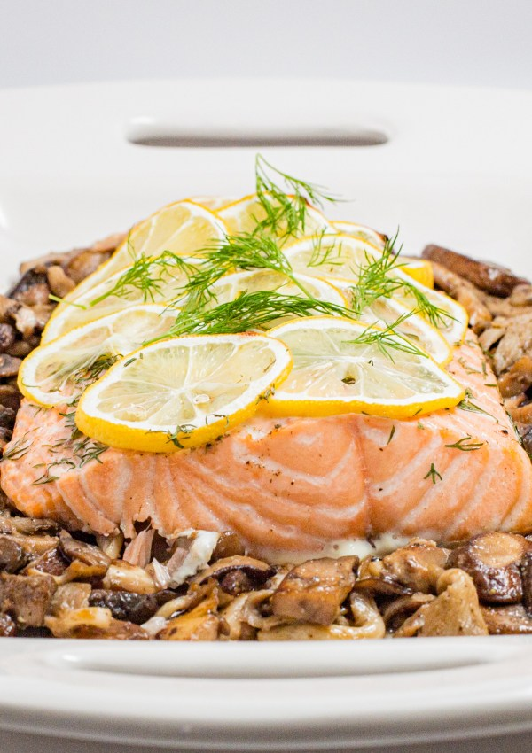 Healthy Roasted Salmon with Sauteed Mushrooms