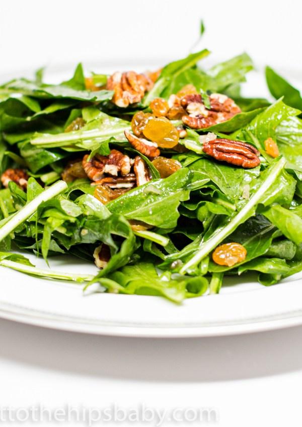 Wilted Dandelion Greens Salad