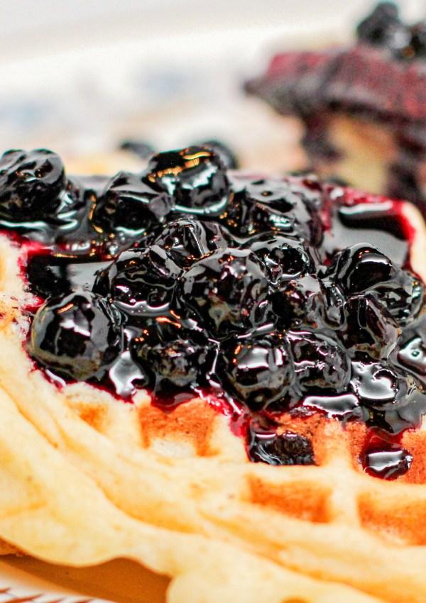 Lemon Ricotta Waffles with Fresh Blueberry Sauce