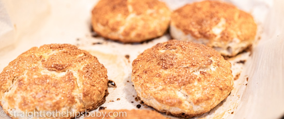 golden brown shortcakes, fresh from the oven on a browned cookie tray