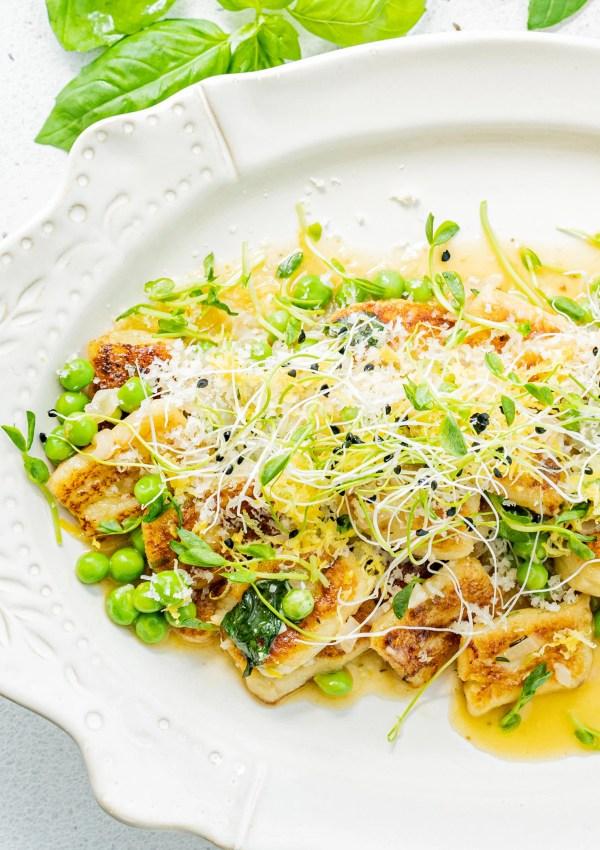 Easy Homemade Ricotta Gnocchi with Lemon & Peas
