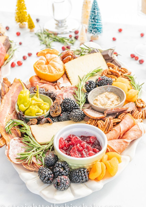 Overflowing charcuterie board for the holidays