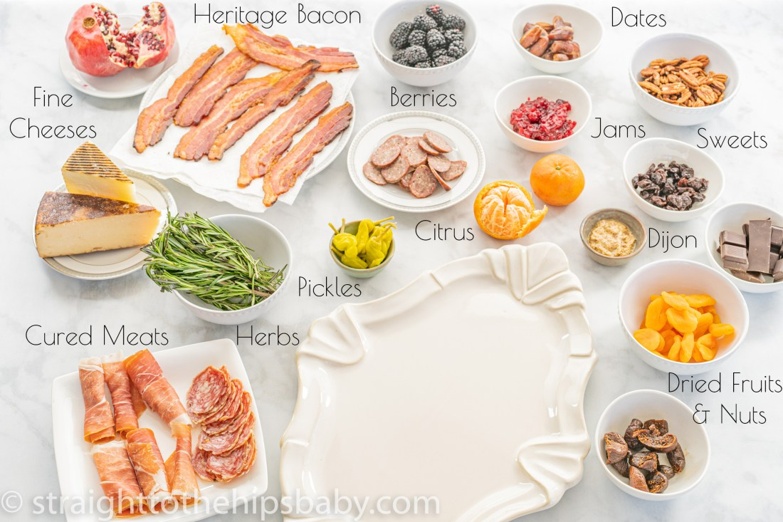 ingredient flatly including cured meats, cheeses, herbs, jams, fruits, and chocolate