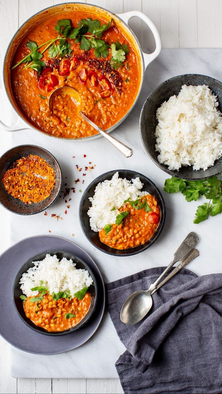 red orange coconut lentil curry