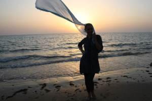 Iranas. Šilkinė keliautojos Kamilės Jokšaitės skara, Iranas.