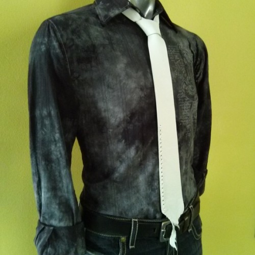 Skinny Leather Necktie, Rhinestones, White Tie