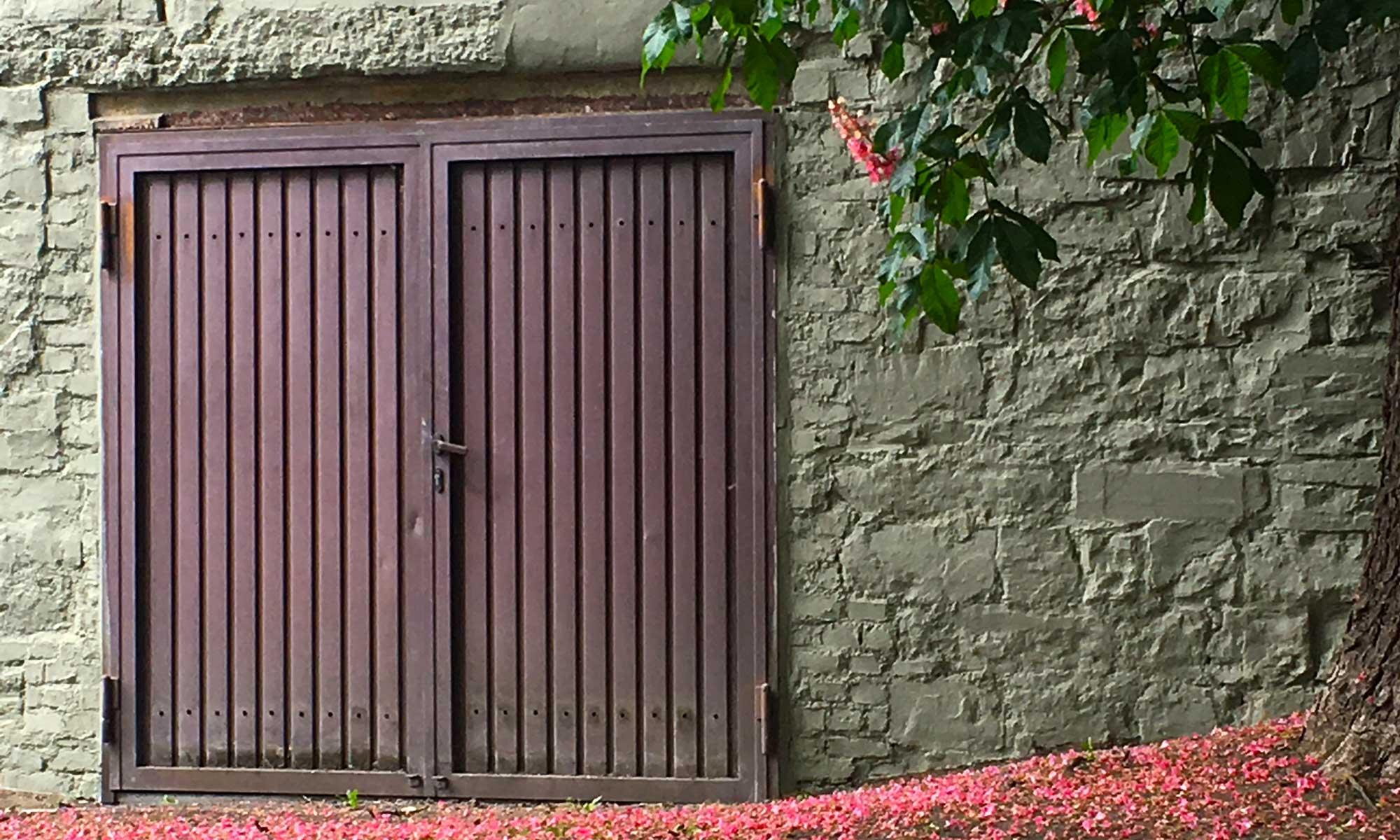 Rote Tür mit Kastanienblüten