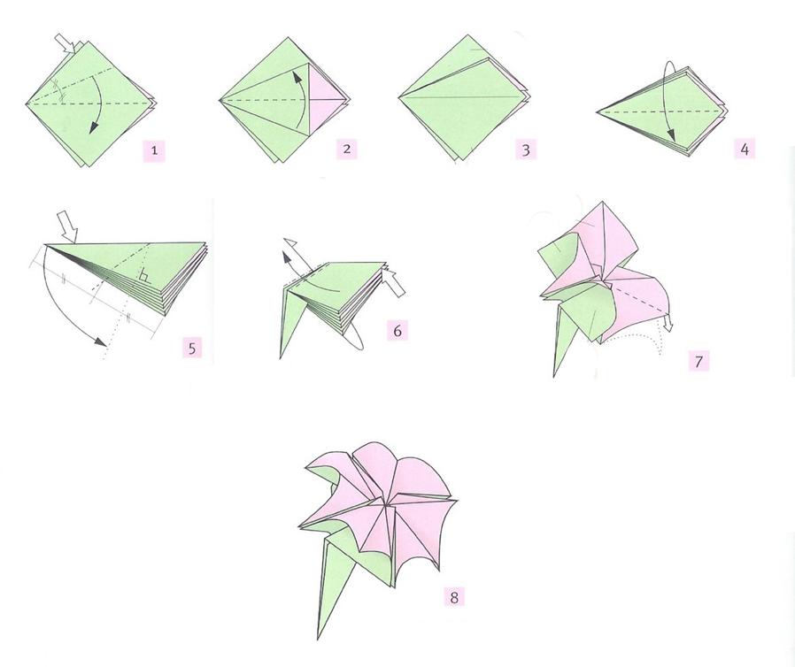 Оригами на открытку цветы, день