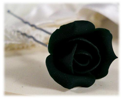 Black Small Rose Bud Hair Pin Clip Small Black Wedding