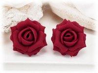 Ruby Red Rose Stud Earrings | Ruby Rose Clip On Earrings ...