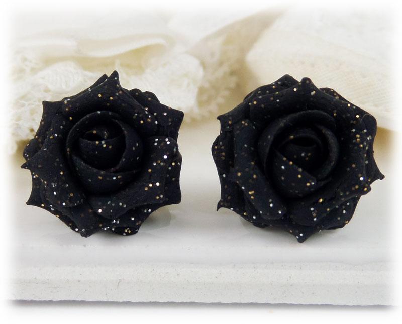 Black Rose Glitter Stud Earrings & metal clip ons