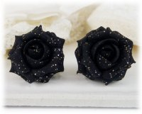 Black Rose Glitter Stud Earrings & metal clip ons