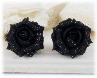 Black Rose Glitter Stud Earrings & metal clip ons ...
