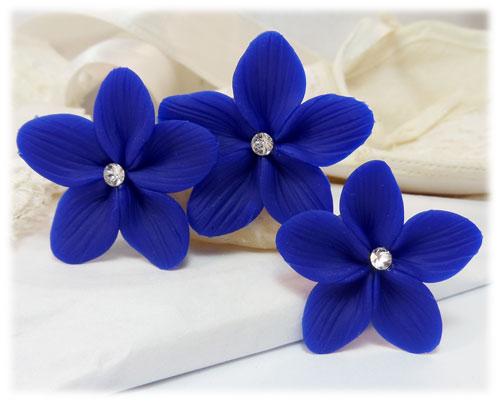 Blue Hair Flowers Blue Flower Wedding Hair Pins