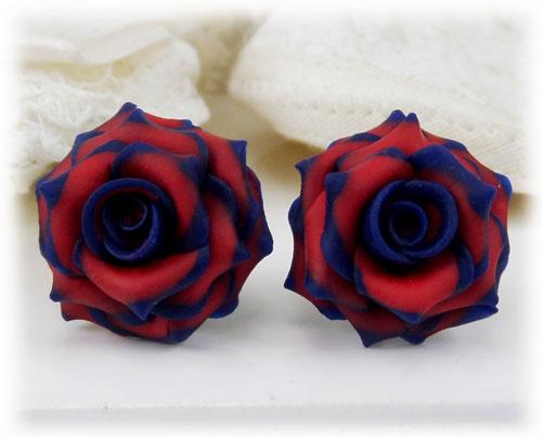 Navy Blue Red Rose Stud Earrings