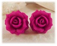 Fuchsia Hot Pink Rose Stud Earrings & Clip On Earrings