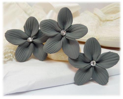 gray flower hair pins