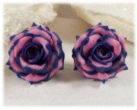 Navy Pink Rose Earrings ? Navy Pink Wedding Jewelry ...