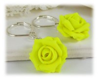 Neon Yellow Rose Drop Earrings | Fluorescent Yellow ...