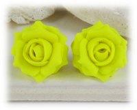 Neon Yellow Rose Stud Earrings & Clip On Earrings