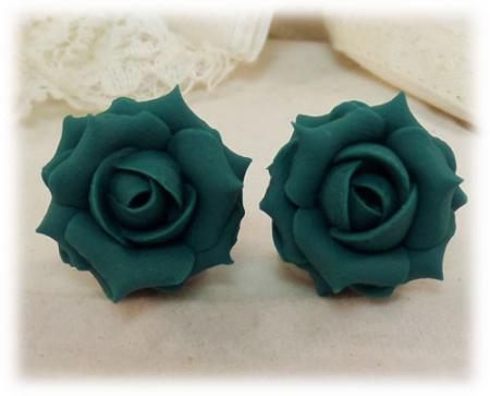 Teal Rose Stud Earrings