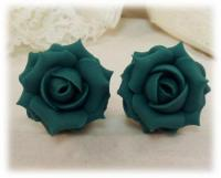 Teal Rose Stud Earrings | Teal Rose Clip On Earrings ...