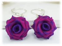 Purple Tipped Pink Rose Drop Earrings - Stranded Treasures