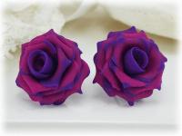 Purple Tipped Rose Earrings Stud & metal clip ons ...