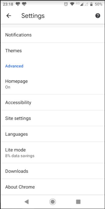 Google Chrome setting
