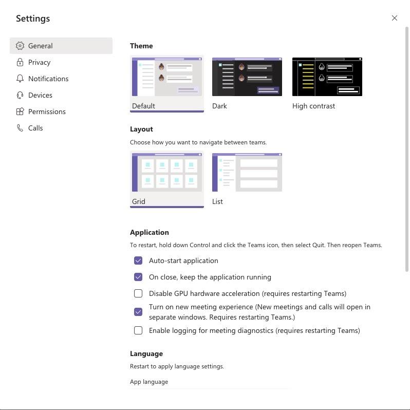 Microsoft Team setting