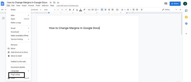 Page Setup Option