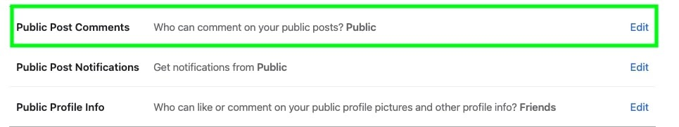 Public post comments