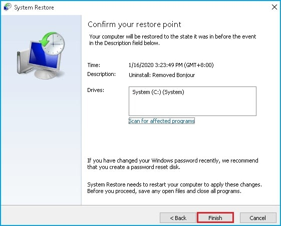 confirm system restore point