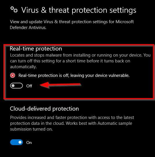 real time protection OFF