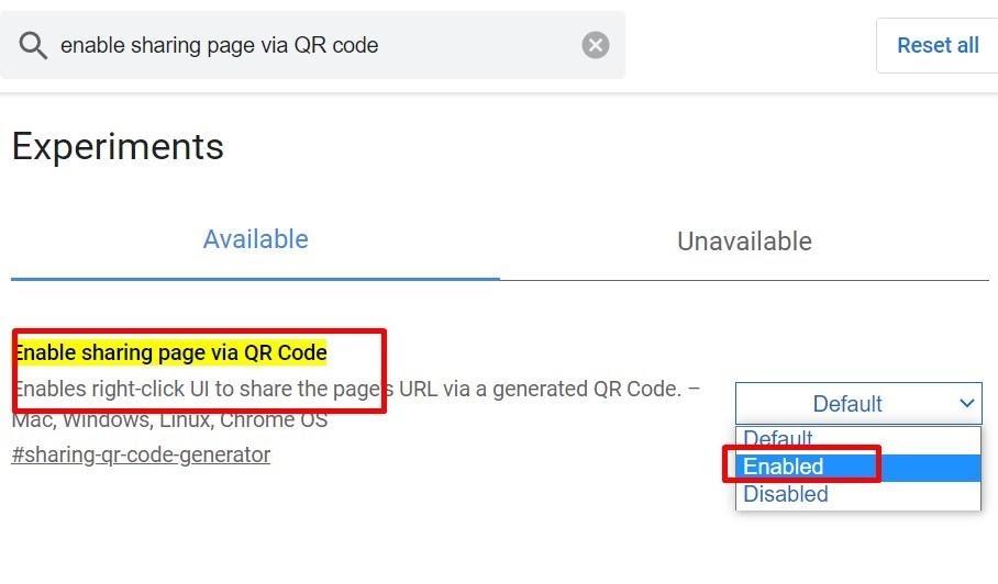 enable qr code