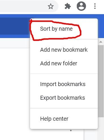 Bookmark sort by name