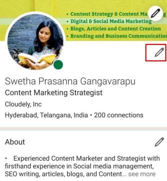 Clicked LinkedIn Profile Picture