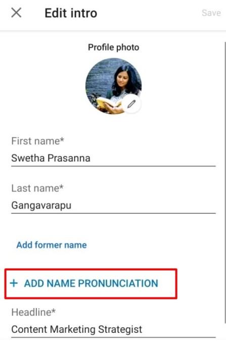 LinkedIn Add Name Pronunciation