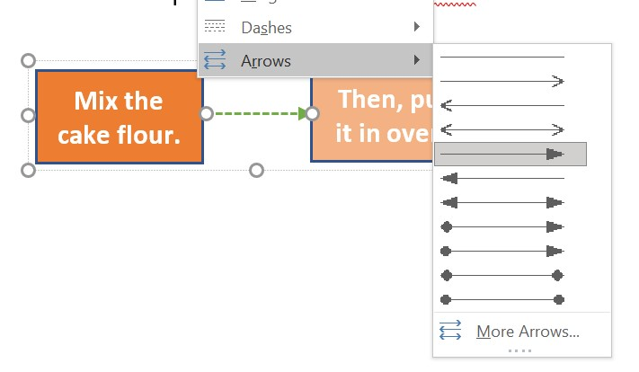 select different line arrow from multiple options