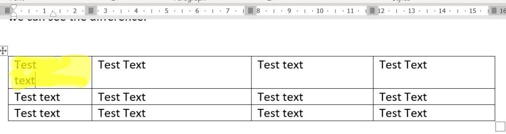 adjusting space in table cells for text using ruler