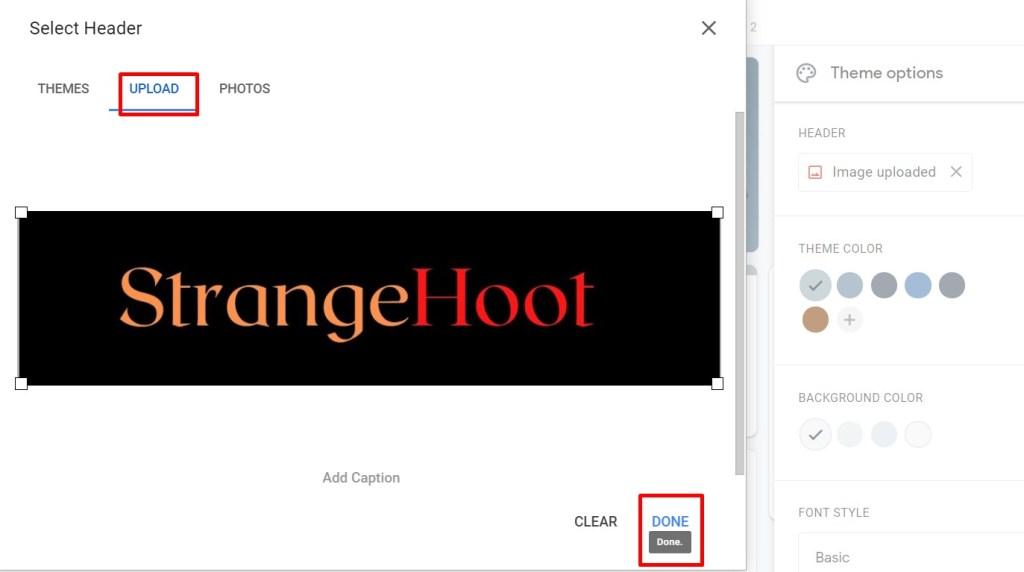 use custom uploaded image as header