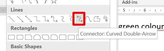 select curved double-arrow connector from lines option