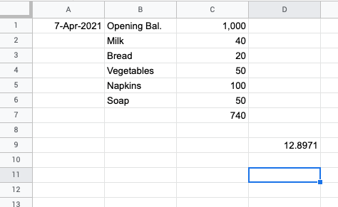 Select the cell in Google Sheets