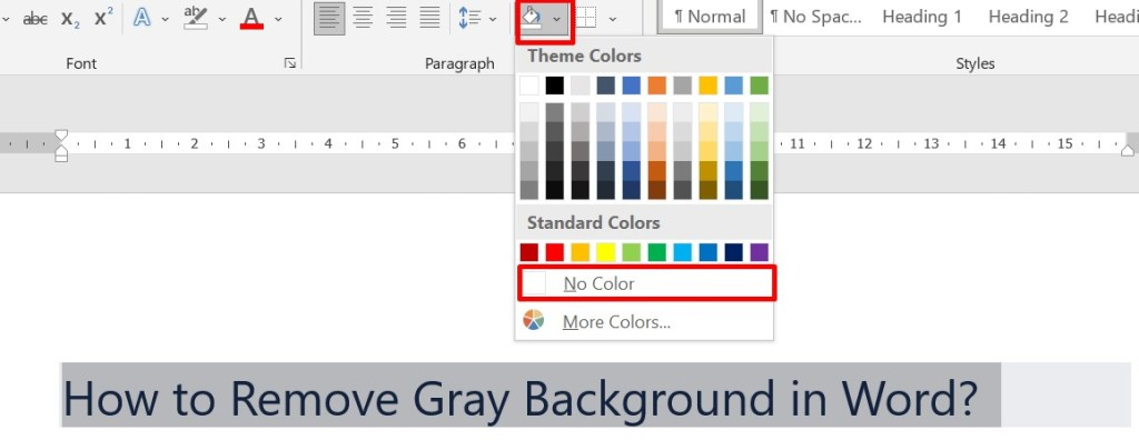 select no color from background color picker
